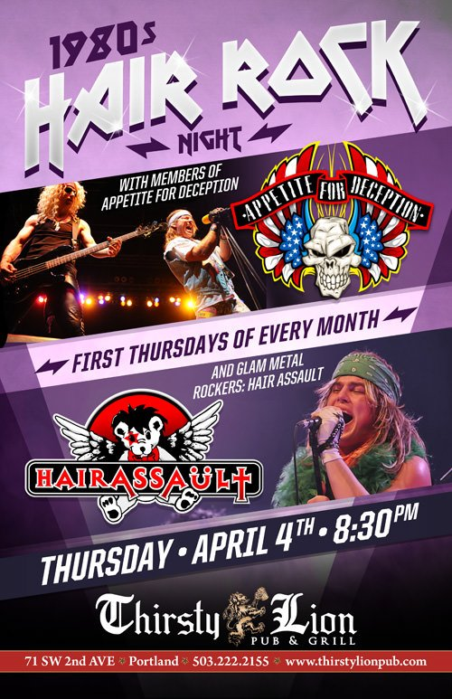 First Thursdays 80s Hair Rock Night @ Thirsty Lion | 80s Attire, Cover Bands, Drinks | Portland Events, Music, Art, Entertainment, Sustainability | PDXPIPELINE.com