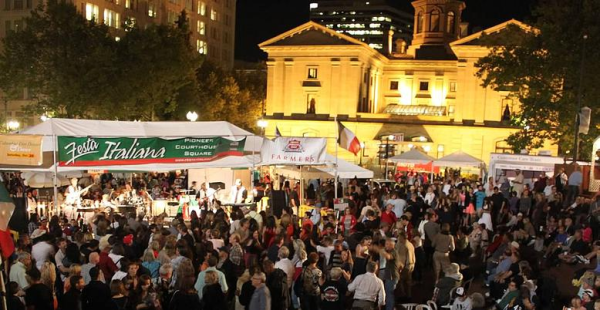 Festa Italiana At Portland S Piazza Pioneer Courthouse Square Features Live Entertainment Italian Opera Dancing Restaurants Wine Gardens