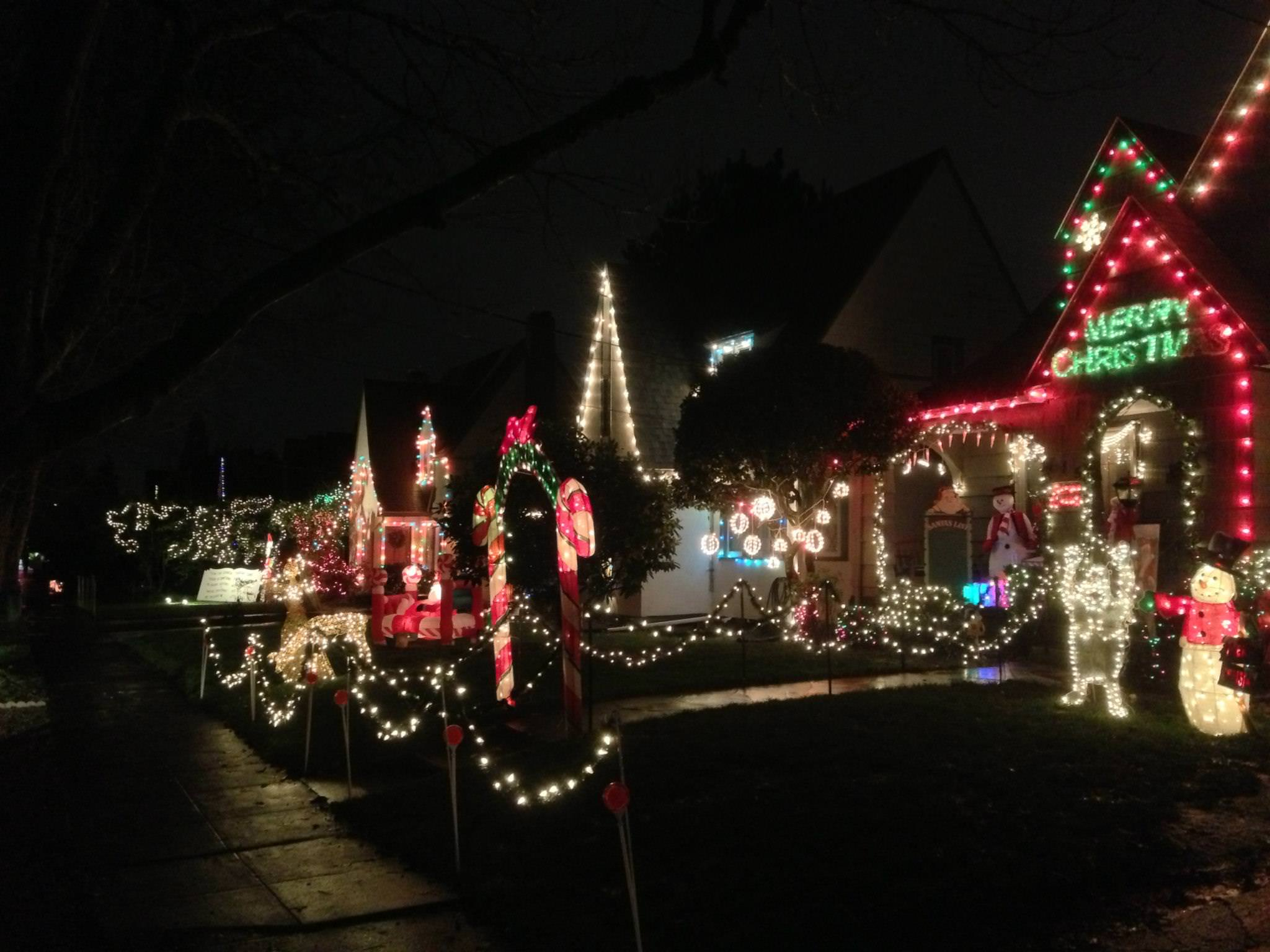 Neighborhood With Christmas Lights