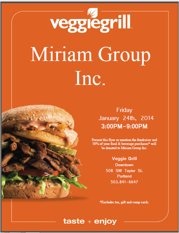 Miriam Group Inc. Fundraiser @ Veggiegrill