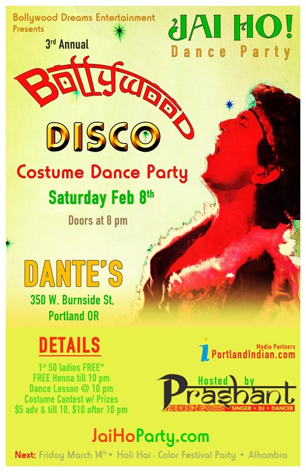 Bollywood Disco Costume Dance Party @ Dante's