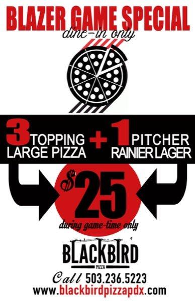 Blazer Game Special Blackbird Pizza