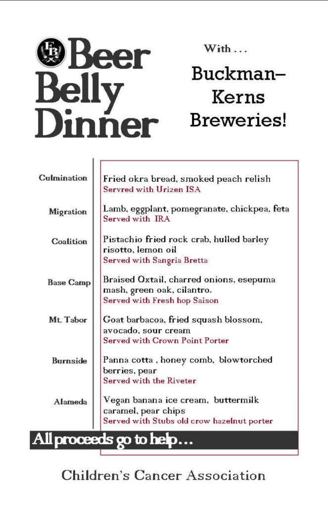 Beer Belly Dinner w/ Buckman Kerns Breweries